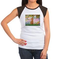 Garden/Std Poodle (apricot) Women's Cap Sleeve T-S