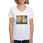 Garden/Std Poodle (apricot) Women's V-Neck T-Shirt