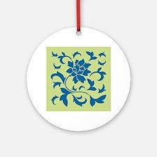 Oriental Flower - Snorkel Blue &amp Round Ornament