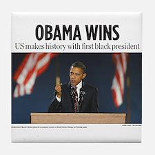 Obama Wins Tile Coaster