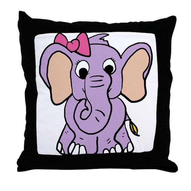 Cute Elephant Throw Pillow by mykidentity