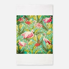 Aloha Tropical Jungle Flowers and Bird Pa Area Rug