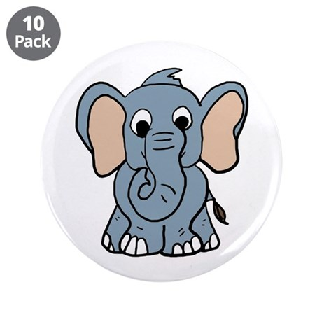 "Cute Elephant 3.5"" Button (10 pack)"