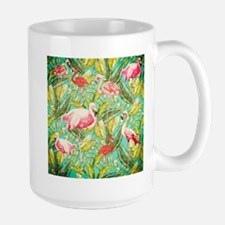 Aloha Tropical Jungle Flowers and Bird Patter Mugs