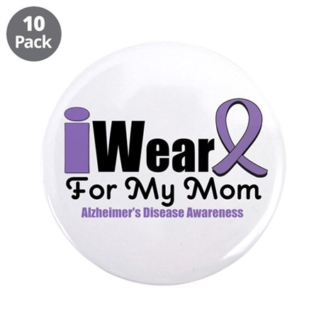 "I Wear Purple Mom 3.5"" Button (10 pack)"