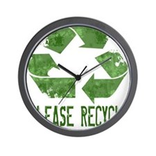 Please Recycle Grunge Wall Clock