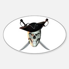 Pirate Skull Oval Decal