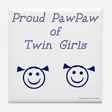 PawPaw of Twin Girls Tile Coaster