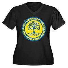 Swedish Roots Women's Plus Size V-Neck Dark T-Shir