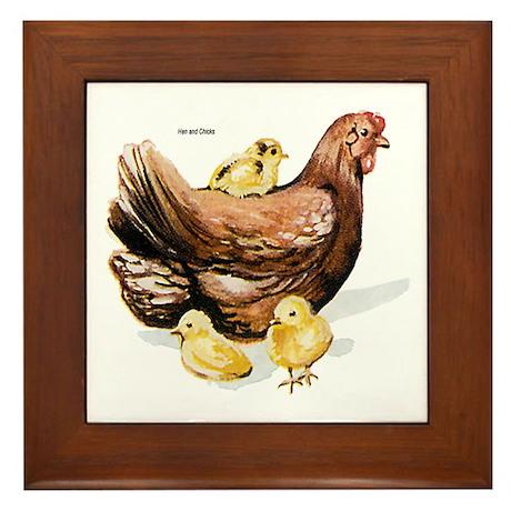 Hen and Chicks Framed Tile
