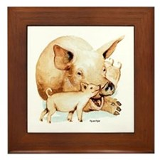 Pig and Piglet Framed Tile