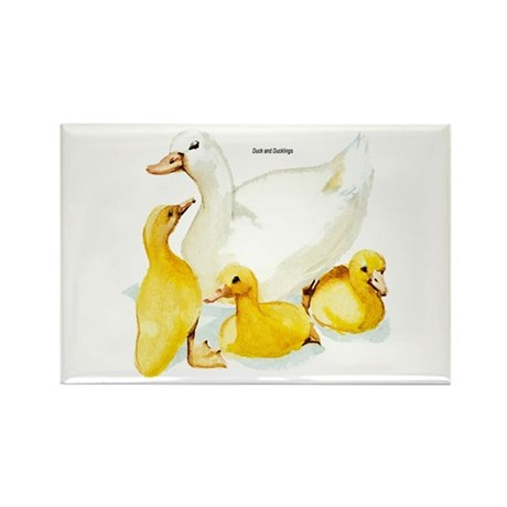 Duck and Ducklings Rectangle Magnet (10 pack)