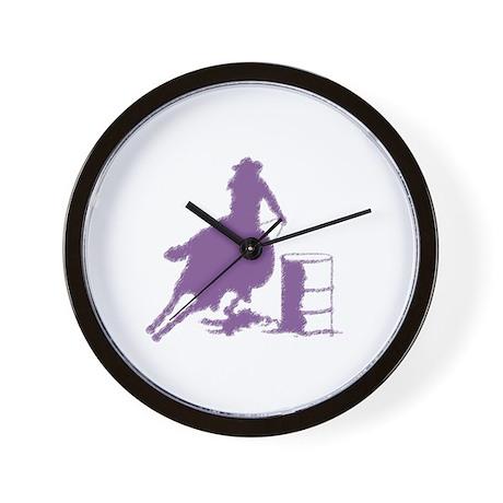 Barrel racing in purple Wall Clock