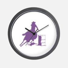 Barrel racing in purple Wall Clock