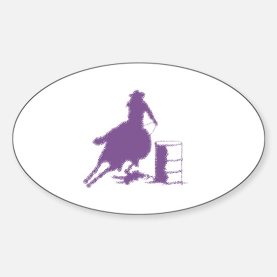 Barrel racing in purple Oval Decal