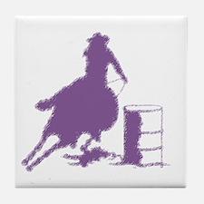 Barrel racing in purple Tile Coaster