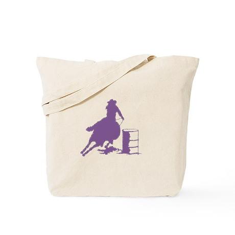 Barrel racing in purple Tote Bag