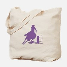 Barrel racing in purple Tote Bag