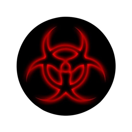 """Glowing biohazard 3.5"""" Button (100 pack)"""