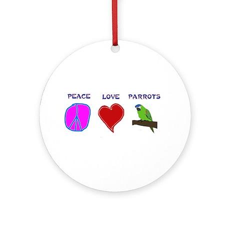 Peace Love Parrots Ornament (Round)