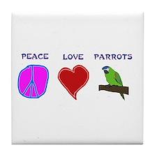 Peace Love Parrots Tile Coaster