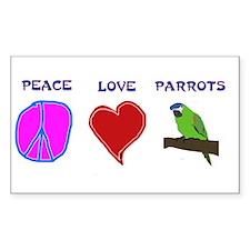 Peace Love Parrots Rectangle Decal