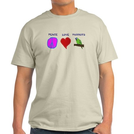 Peace Love Parrots Light T-Shirt