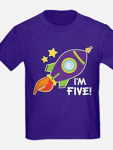 5th Birthday Space Rocket T-Shirt