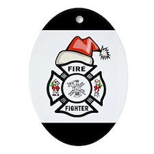 Firefighter Santa Ornament (Oval)