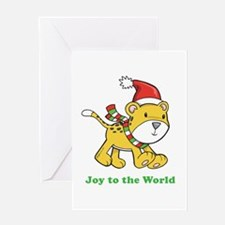 Joy to the World Leopard Greeting Card
