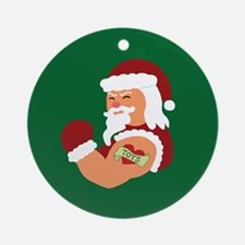 Santa Tattoo Ornament (Round)