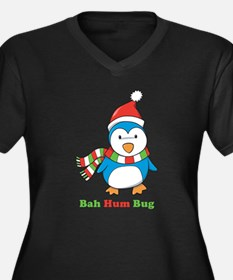 Bah Hum Bug Penguin Women's Plus Size V-Neck Dark