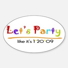Let's Party Obama Inaguration Oval Decal