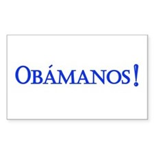 Obamanos blue letters Rectangle Decal