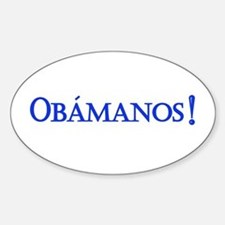 Obamanos blue letters Oval Decal