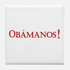 Obamanos blue letters Tile Coaster
