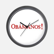 Obamanos blue letters Wall Clock