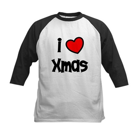 I Love Xmas Kids Baseball Jersey