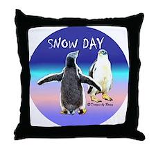 Penguin Snow Day No School - Throw Pillow