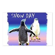 Penguin Snow Day No School - Postcards (Package of
