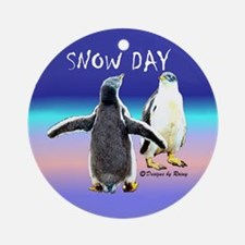 Penguin Snow Day No School - Ornament (Round)