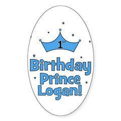 1st Birthday Prince Logan! Oval Decal