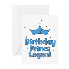 1st Birthday Prince Logan! Greeting Cards (Pk of 2