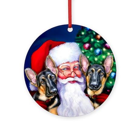 Santa's GSD Christmas Ornament (Round)