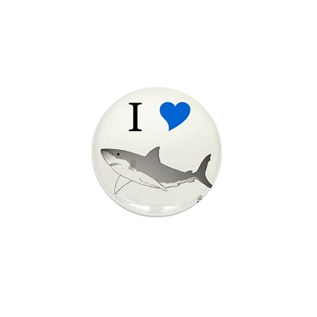 I Love Sharks Mini Button