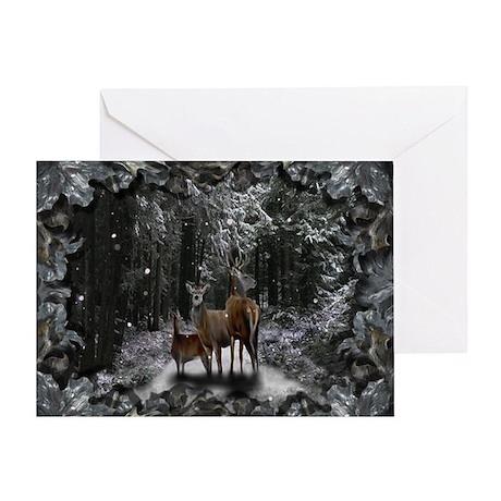 Deer Family Solstice Greeting Card