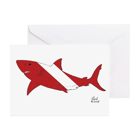 Shark Dive Greeting Cards (Pk of 10)