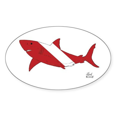 Shark Dive Oval Sticker