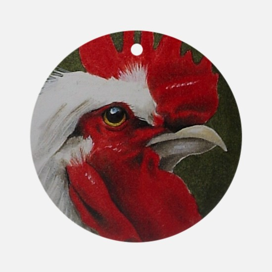 Rooster Christmas Holiday Ornament (Round)