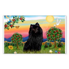 Schipperke in Bright Country Rectangle Decal